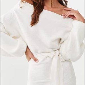 Off-the-Shoulder Ribbed Mini Dress